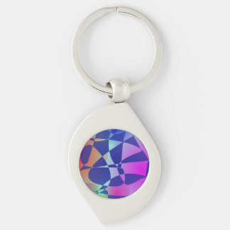 Broken Tile Mosaic Design Abstract Art Silver-Colored Swirl Keychain