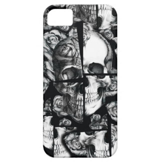 Broken up, fractured images of rose skull in black case for the iPhone 5