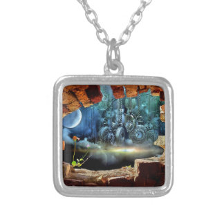 Broken wall view silver plated necklace