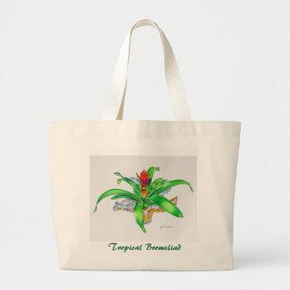 Bromeliad Watercolor Large Tote Bag