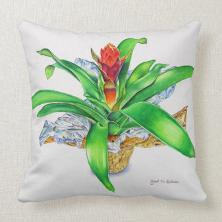 Bromeliad Watercolor Throw Pillow