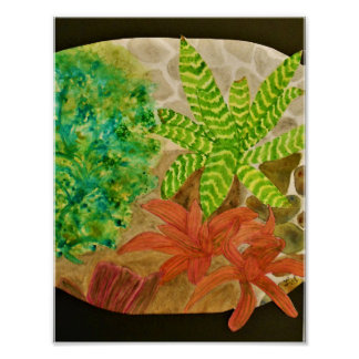 Bromelias and Fern Watercolor Poster