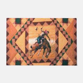 """Bronc Rider Western Cowboy 24"""" x 36"""" Bath Mat"""