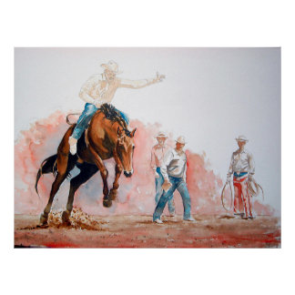 Bronc Riding Cowboy Poster