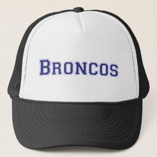 Broncos square logo in blue trucker hat