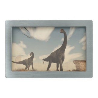 Brontomerus dinosaurs in the desert - 3D render Belt Buckle