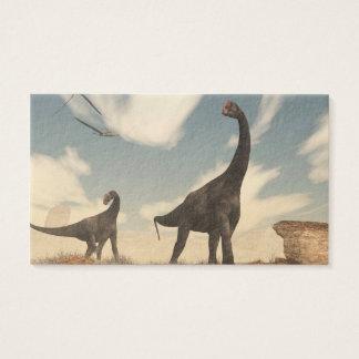 Brontomerus dinosaurs in the desert - 3D render Business Card