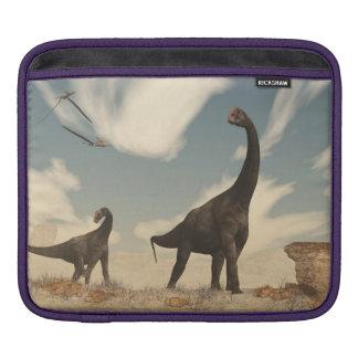 Brontomerus dinosaurs in the desert - 3D render iPad Sleeve