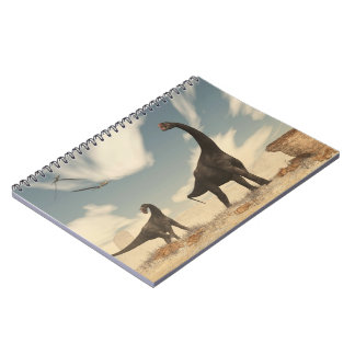 Brontomerus dinosaurs in the desert - 3D render Notebooks