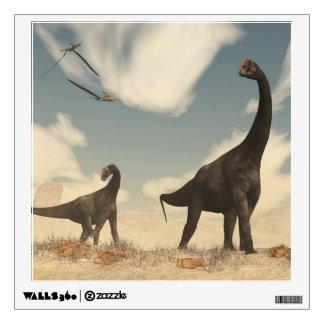 Brontomerus dinosaurs in the desert - 3D render Wall Sticker