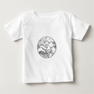 Brontosaurus Astronaut Mountain Circle Tattoo Baby T-Shirt