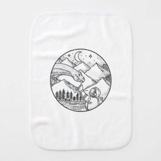 Brontosaurus Astronaut Mountain Circle Tattoo Burp Cloth