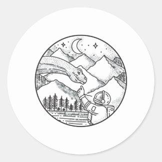 Brontosaurus Astronaut Mountain Circle Tattoo Classic Round Sticker