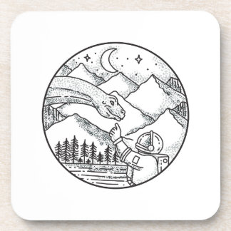 Brontosaurus Astronaut Mountain Circle Tattoo Coaster