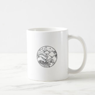 Brontosaurus Astronaut Mountain Circle Tattoo Coffee Mug