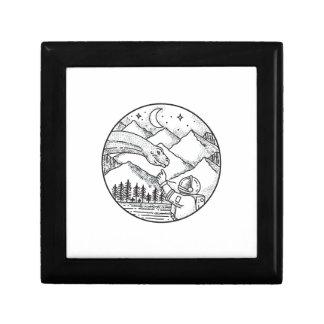 Brontosaurus Astronaut Mountain Circle Tattoo Gift Box