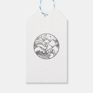 Brontosaurus Astronaut Mountain Circle Tattoo Gift Tags