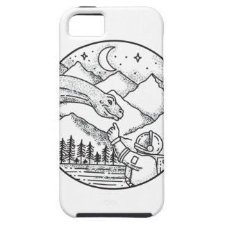 Brontosaurus Astronaut Mountain Circle Tattoo iPhone 5 Case
