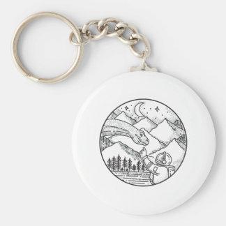 Brontosaurus Astronaut Mountain Circle Tattoo Keychain