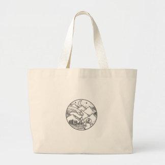 Brontosaurus Astronaut Mountain Circle Tattoo Large Tote Bag