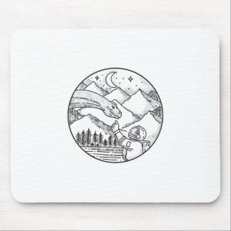 Brontosaurus Astronaut Mountain Circle Tattoo Mouse Pad