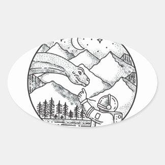 Brontosaurus Astronaut Mountain Circle Tattoo Oval Sticker