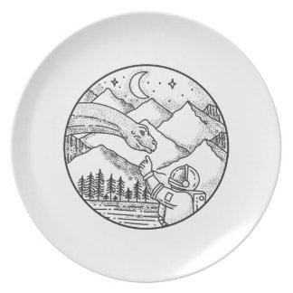 Brontosaurus Astronaut Mountain Circle Tattoo Plate