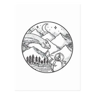 Brontosaurus Astronaut Mountain Circle Tattoo Postcard