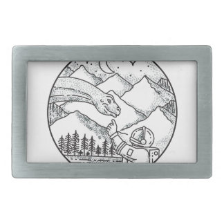 Brontosaurus Astronaut Mountain Circle Tattoo Rectangular Belt Buckles