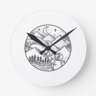 Brontosaurus Astronaut Mountain Circle Tattoo Round Clock