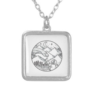 Brontosaurus Astronaut Mountain Circle Tattoo Silver Plated Necklace