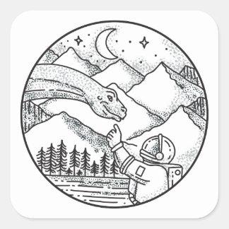 Brontosaurus Astronaut Mountain Circle Tattoo Square Sticker