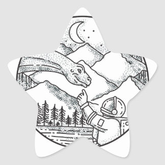 Brontosaurus Astronaut Mountain Circle Tattoo Star Sticker