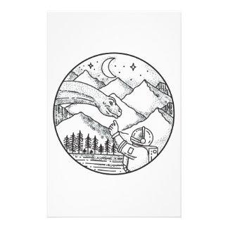 Brontosaurus Astronaut Mountain Circle Tattoo Stationery