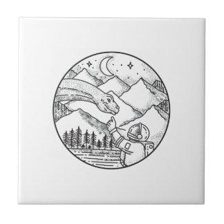 Brontosaurus Astronaut Mountain Circle Tattoo Tile