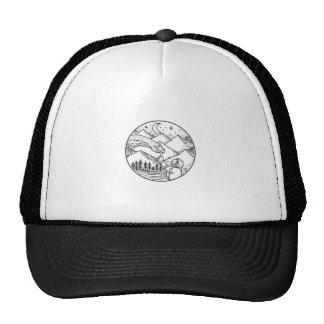 Brontosaurus Astronaut Mountain Circle Tattoo Trucker Hat