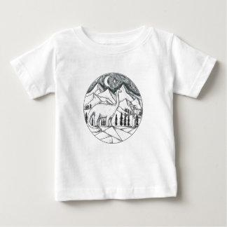 Brontosaurus Astronaut Mountains Tattoo Baby T-Shirt
