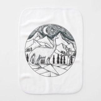 Brontosaurus Astronaut Mountains Tattoo Burp Cloth