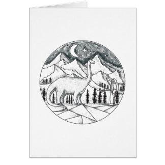 Brontosaurus Astronaut Mountains Tattoo Card
