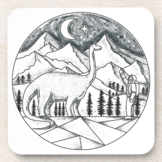 Brontosaurus Astronaut Mountains Tattoo Coaster