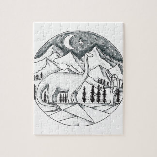 Brontosaurus Astronaut Mountains Tattoo Jigsaw Puzzle