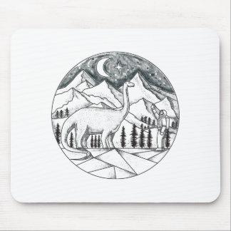 Brontosaurus Astronaut Mountains Tattoo Mouse Pad