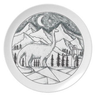 Brontosaurus Astronaut Mountains Tattoo Plate