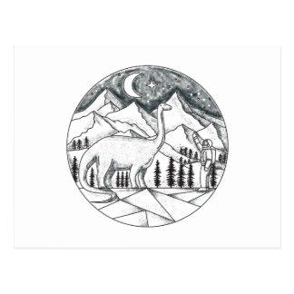Brontosaurus Astronaut Mountains Tattoo Postcard
