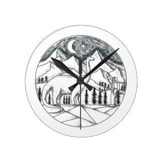 Brontosaurus Astronaut Mountains Tattoo Round Clock
