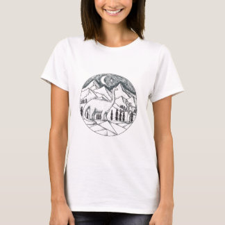 Brontosaurus Astronaut Mountains Tattoo T-Shirt