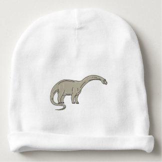 Brontosaurus Dinosaur Looking Down Mono Line Baby Beanie