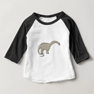 Brontosaurus Dinosaur Looking Down Mono Line Baby T-Shirt