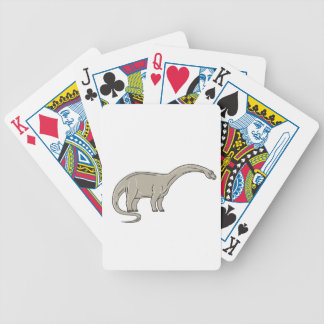 Brontosaurus Dinosaur Looking Down Mono Line Bicycle Playing Cards