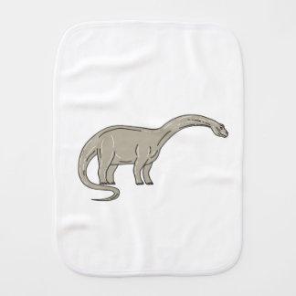 Brontosaurus Dinosaur Looking Down Mono Line Burp Cloth